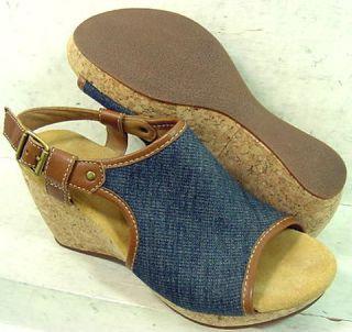 Clarks Elements Womens Harwich Helm Denim Platform Sandals Shoes 87669