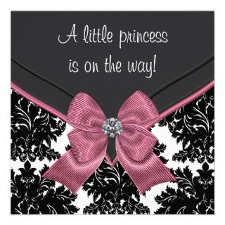 Black Damask Pink Bow Princess Baby Shower Invitations