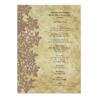Vintage Brown Queen Anns Lace Wedding Program Custom Invitations