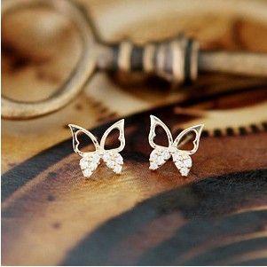 Fashion Elegant Crystal Rhinestone Hollow Out Butterfly Ear Stud
