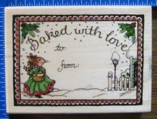 Holly Pond Hill Rubber Stamp Christmas Baked with Love Gift Label