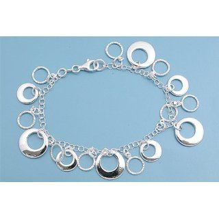 Sterling Silver Italian Bracelet with Ring Dangle Charms   14mm Charm