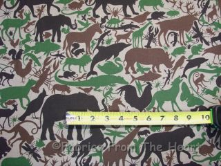 Horses Wolf Birds Cat by Yards Alexander Henry Cotton Fabric