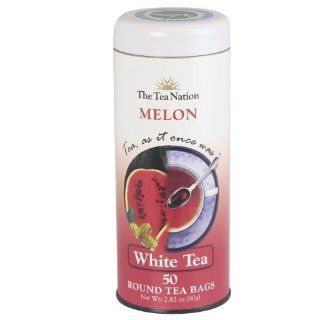 The Tea Nation Round White Tea Bags, Melon, 50 Count (Pack of 3