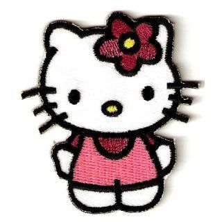 Hello Kitty w pink flower as bow & maroon shirt in pink