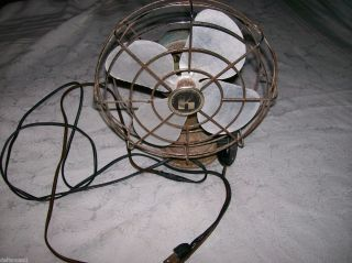 Vintage  Roebuck Green Fan Original Parts Works Well