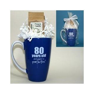 80 and Aged to Perfection Gourmet Coffee Mug Gift Package