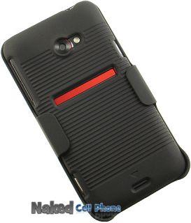 Black Rubberized Hard Case Holster Belt Clip for Sprint HTC EVO 4G LTE
