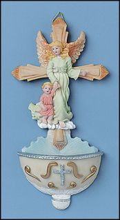 Guardian Angel Holy Water Font with Holy Water Bottle