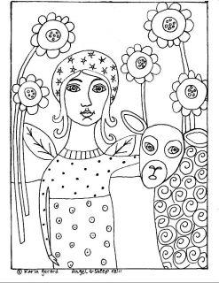RUG HOOK PAPER PATTERN Angel & Sheep FOLK ART ABSTRACT PRIMITIVE by