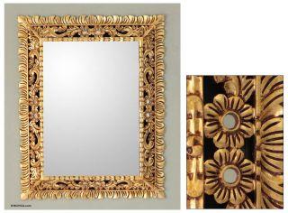 Artisan Handmade Large Wall Mirror w Bronze Leaf 37x29 Novica