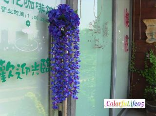 Artificial Wisteria Flower Vine Garden Home Decor Blue