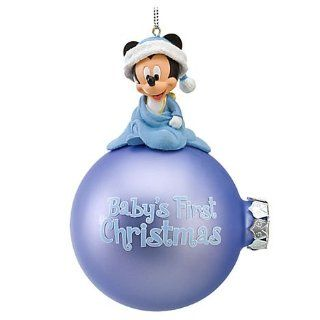 Disney Babys First Christmas Mickey Mouse Blue Glass Bulb