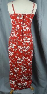 Tropical Hibiscus Flowers Hawaiian Dress 8 Spaghetti Strap Red Leaf