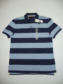 Tommy Hilfiger Mens Size XL Slim Fit Blue Striped Polo Shirt New