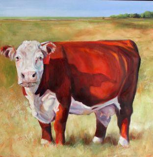 18x18 Hereford Cattle Cows Original Art Oil Acrylic Farm Paintings