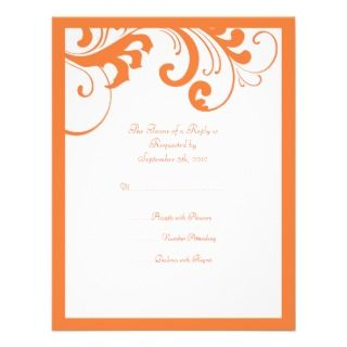 Orange and White Swirls Frame Wedding RSVP Personalized Invitations