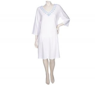 Stan Herman Embroidered Cotton Spandex Caftan Pullover White 3X NEW
