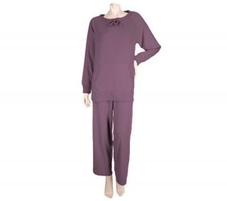Stan Herman Microfleece Lounge Set Ribbed Trim Tunic Top Pants Plum L