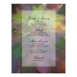 Menú del boda del Hydrangea de la hoja del roble Tarjeta Publicitaria