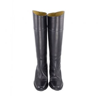 Hermes Black Leather Knee High Riding Boots 2519 1 NYC L