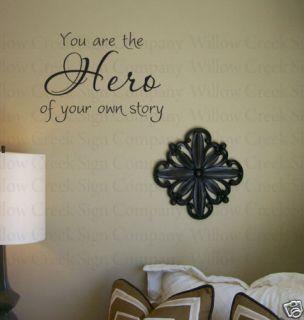 Hero of Your Story Wall Lettering Words Decor Vinyl Art