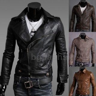 Zanzea Herren Kunst Leder Jacke Mantel Motorrad Jacke Blazer 4 Farben
