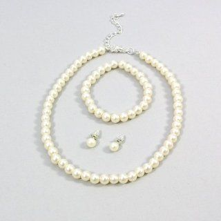 Childrens Girls Jewelry 3pc Pearl Set Bracelet, Necklace