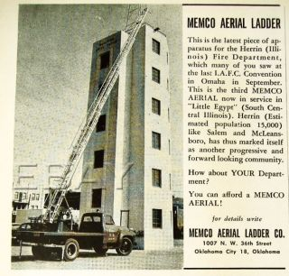 Herrin IL FD Illinois Williamson County Fire Truck Ad
