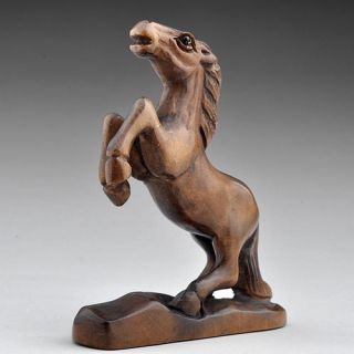wood boxwood sculpture carving statue craft netsuke sturdy horse jump