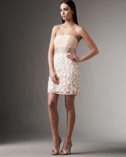 Sue Wong Strapless Petal Skirt Dress