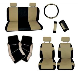 Superior Faux Leather Tan Black Car Seat Covers Set w Tan Tattoo Floor