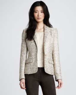 Lafayette 148 New York Shipley Crinkled Blouse, Metallic Tweed Skirt