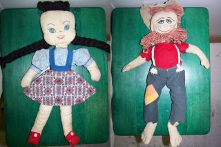 Vintage Rag Dolls. Country Girl and Hillbilly.Homemade +Doll Clothes