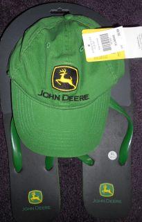 John Deere Mens Green Baseball Cap Matching Flipflops Size XXLarge 12