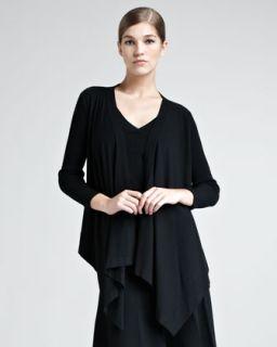 B210D Donna Karan Draped Stretch Knit Cozy, Black
