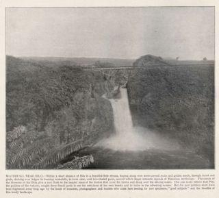 HAWAII Hilo Waterfall Quality Antique 1890s Print