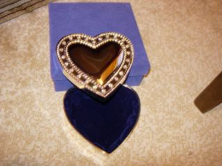 Silver Heart Shaped Trinket Box Embolished with Rhinestones