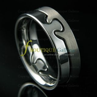 Heart Soul Separable Tungsten Carbide Band 2 Ring Set