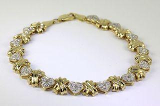 15CT ROUND PAVE DIAMOND 14K YELLOW GOLD HEARTS KISSES BRACELET 8 1/4