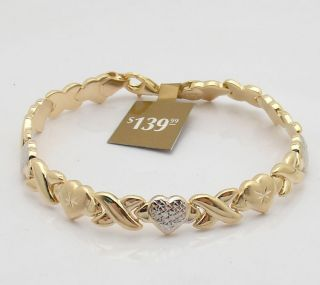 Technibond Hearts Kisses Bracelet 14k Yellow Gold Clad 925 Sterling