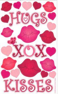 Hugs Kisses Heart Lips Sandylion Stickers 4x6 Love
