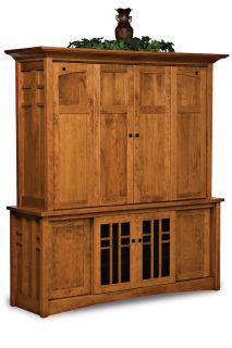 Amish TV Entertainment Center Solid Oak Wood Media Hutch LCD Cabinet