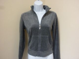 Juicy Couture Heather Gray Gold Blue Velour Tracksuit Sweatshirt