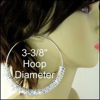 HoT* AB CRYSTAL RONDELLE Silver HOOP BASKETBALL WIVES Earrings 3.5
