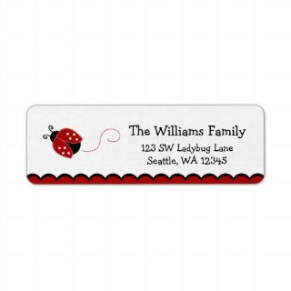 Cute Red Ladybug Return Address Label