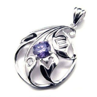 Purple Zircon 925 Quality Silver Plated Pendant Necklace