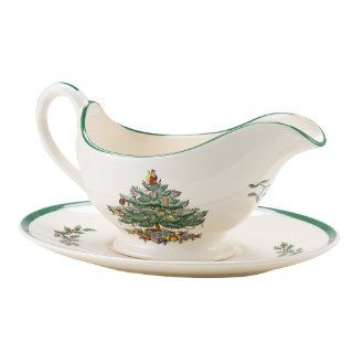 Spode Christmas Tree Sauce Boat and Stand Kitchen