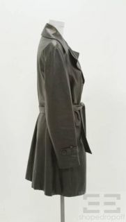 Michael Hoban North Beach Black Leather Button Front Belted Coat, Size