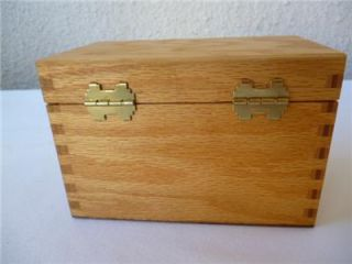Vintage Wooden Recipe File Box Dovetailed Solid Oak Office Kitchen 3 x